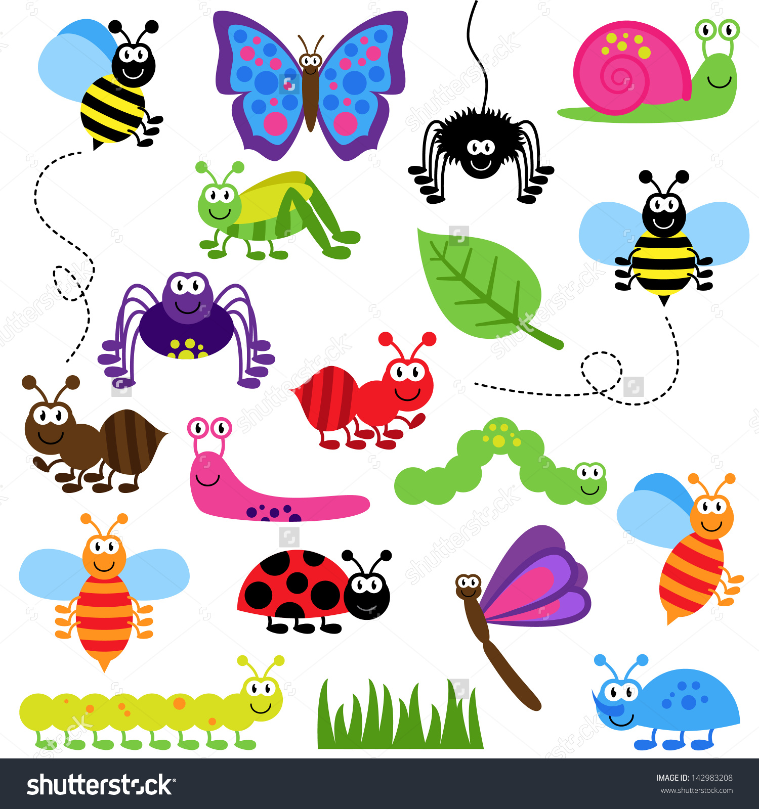 Garden creatures clipart.