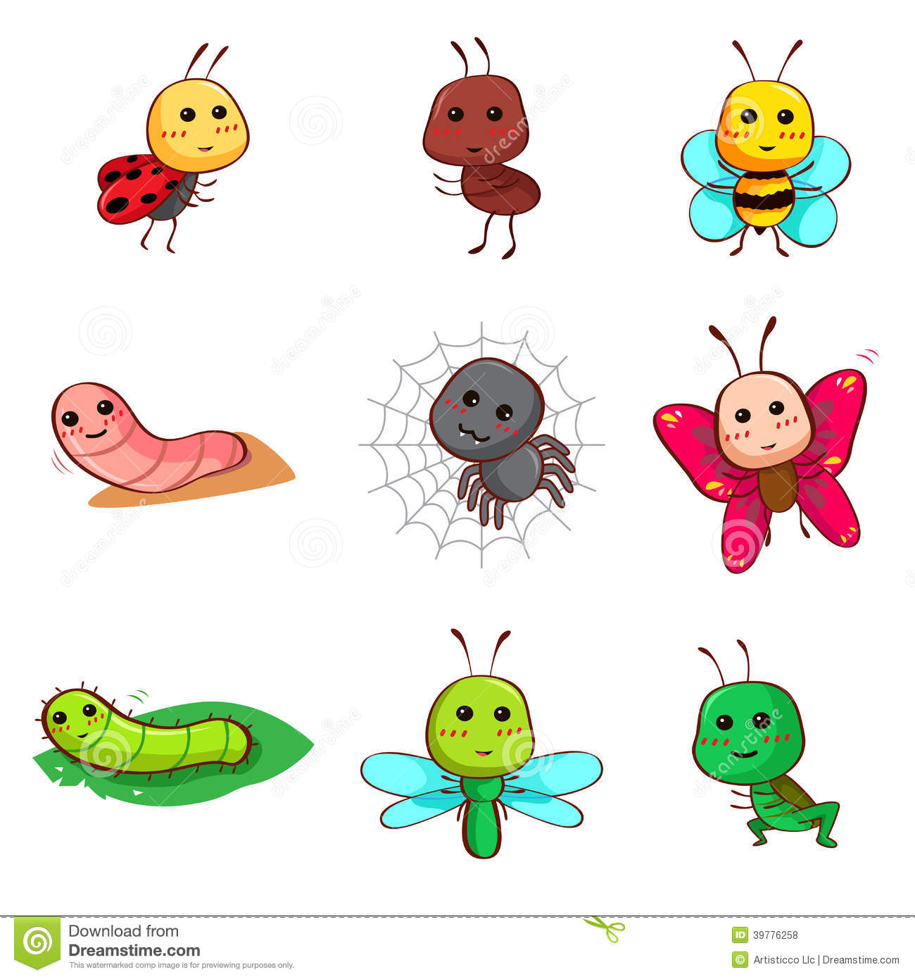 Cute Cartoon Bugs Group with 52+ items.