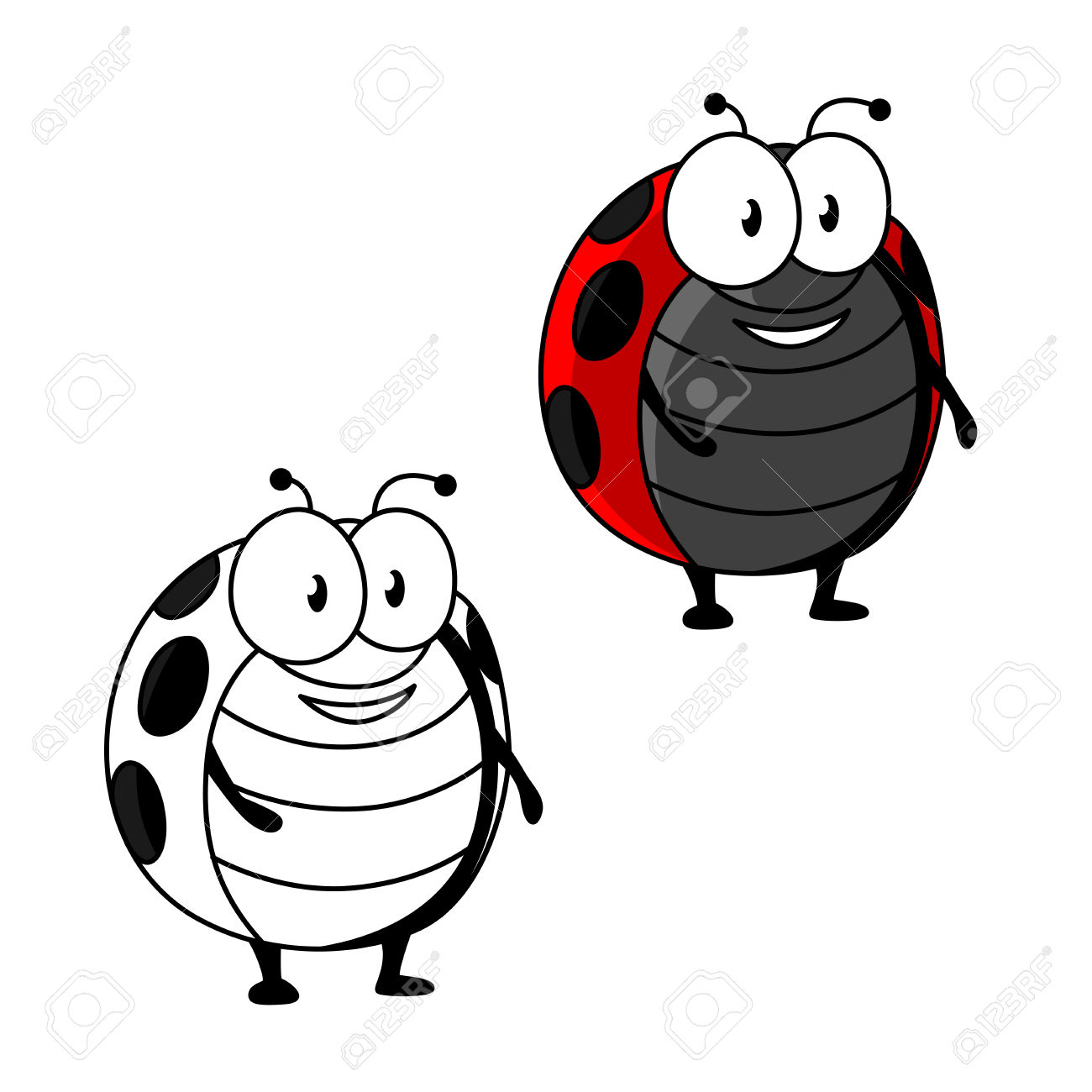 Cartoon Red Ladybird Or Ladybug Insect Character With Black Spots.