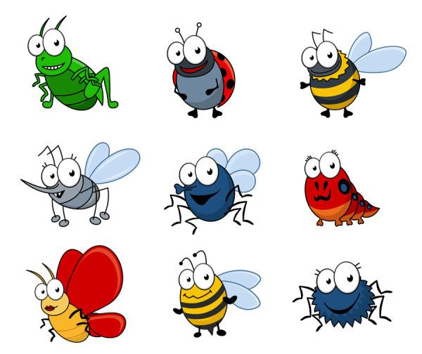 Funny Cartoon Insects vector set 04..
