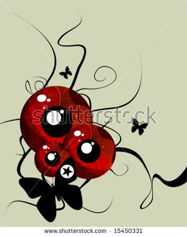 Ladybug Watercolor Illustration Cartoon Insect Red Stock Vector.