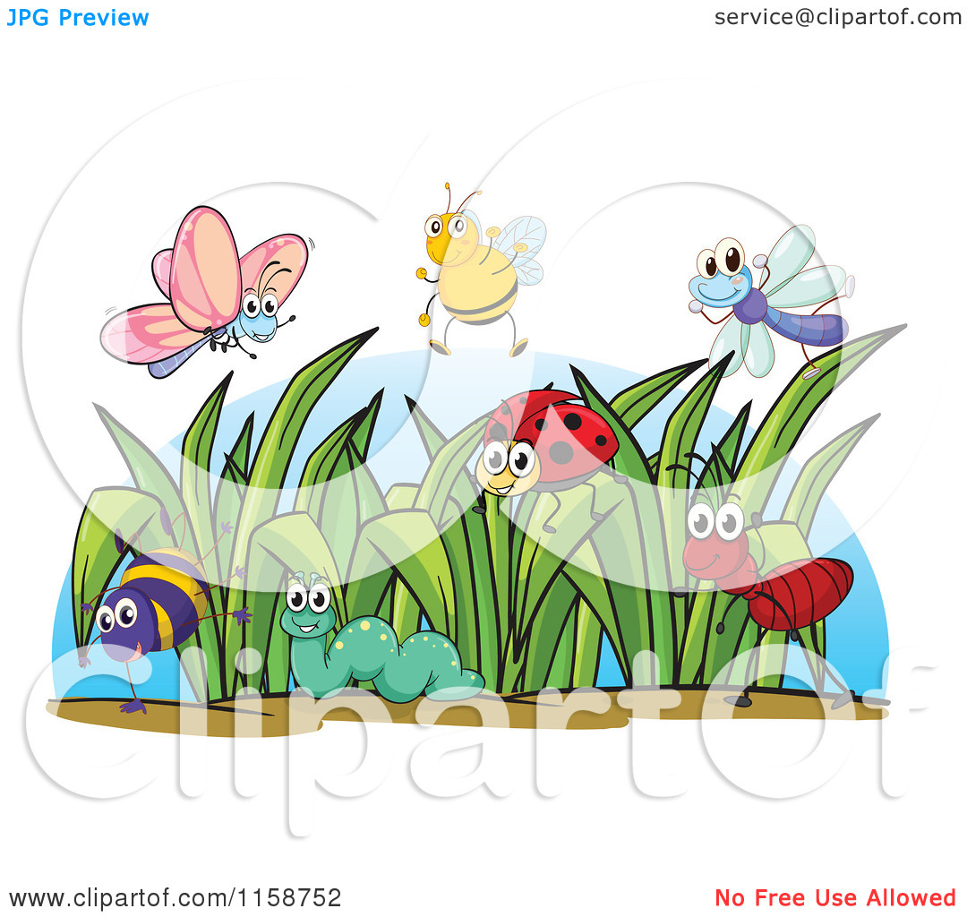 Grass Clipart With Bugs.