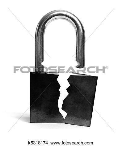 Stock Photo of Insecure broken lock k5318174.