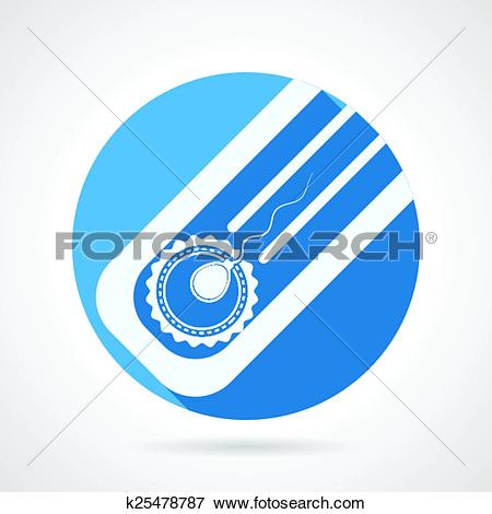 Clip Art of Round flat vector icon for artificial insemination.