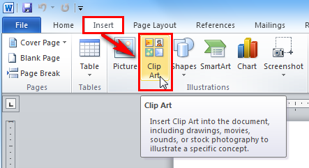How to insert clipart.