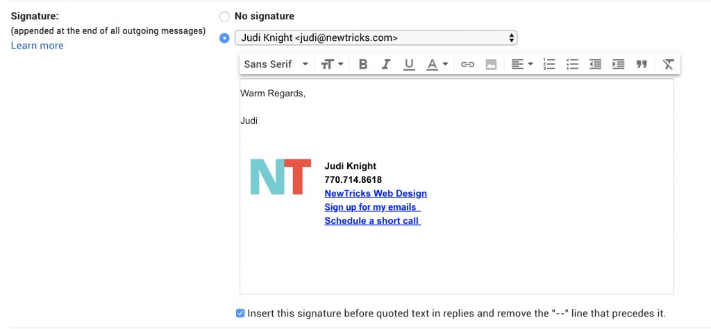 How to add an image to your Gmail signature.