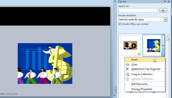 Insert Clip Art Video In PowerPoint 2010.