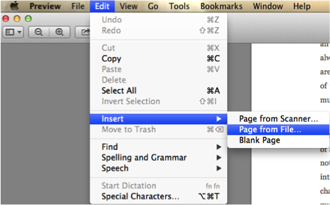 Insert one or more pages into a PDF file using the Preview App.