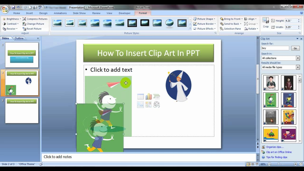 Insert Clip Art In PowerPoint Presentation.