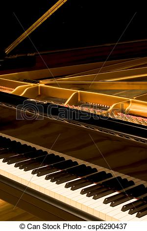 Picture of Grand Piano with cover open.