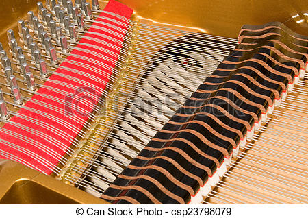 Picture of Inside Baby Grand Piano.