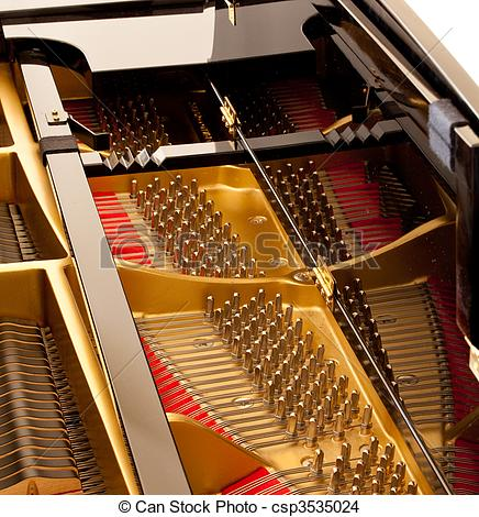 Stock Photo of Inside grand piano.