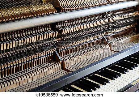 Stock Photograph of inside the piano: string, pins and hammers.