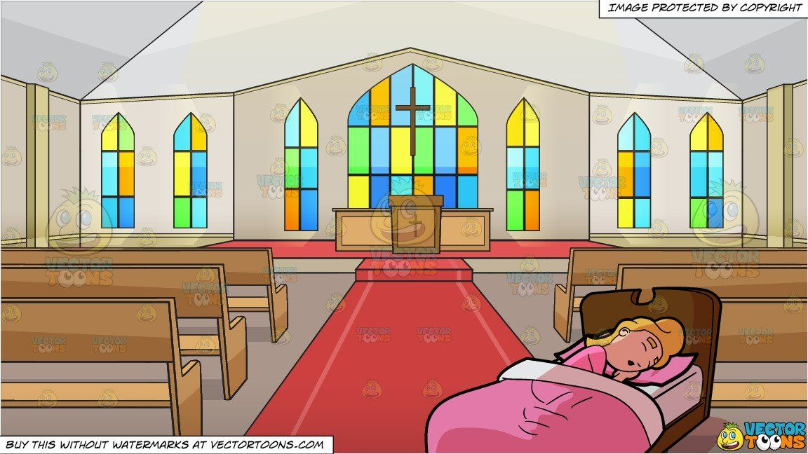 clipart #cartoon A Woman Sleeping Soundly In Bed and Inside.