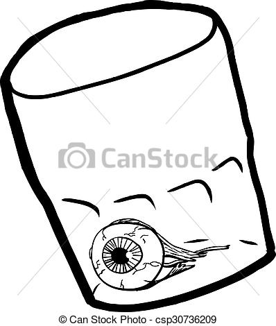 Stock Illustration of Outlined Eyeball Inside Cup.