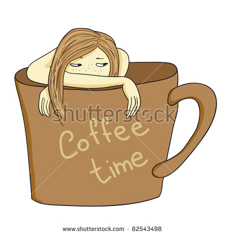 Girl Inside Cup Coffee Card Stock Vector 83244388.