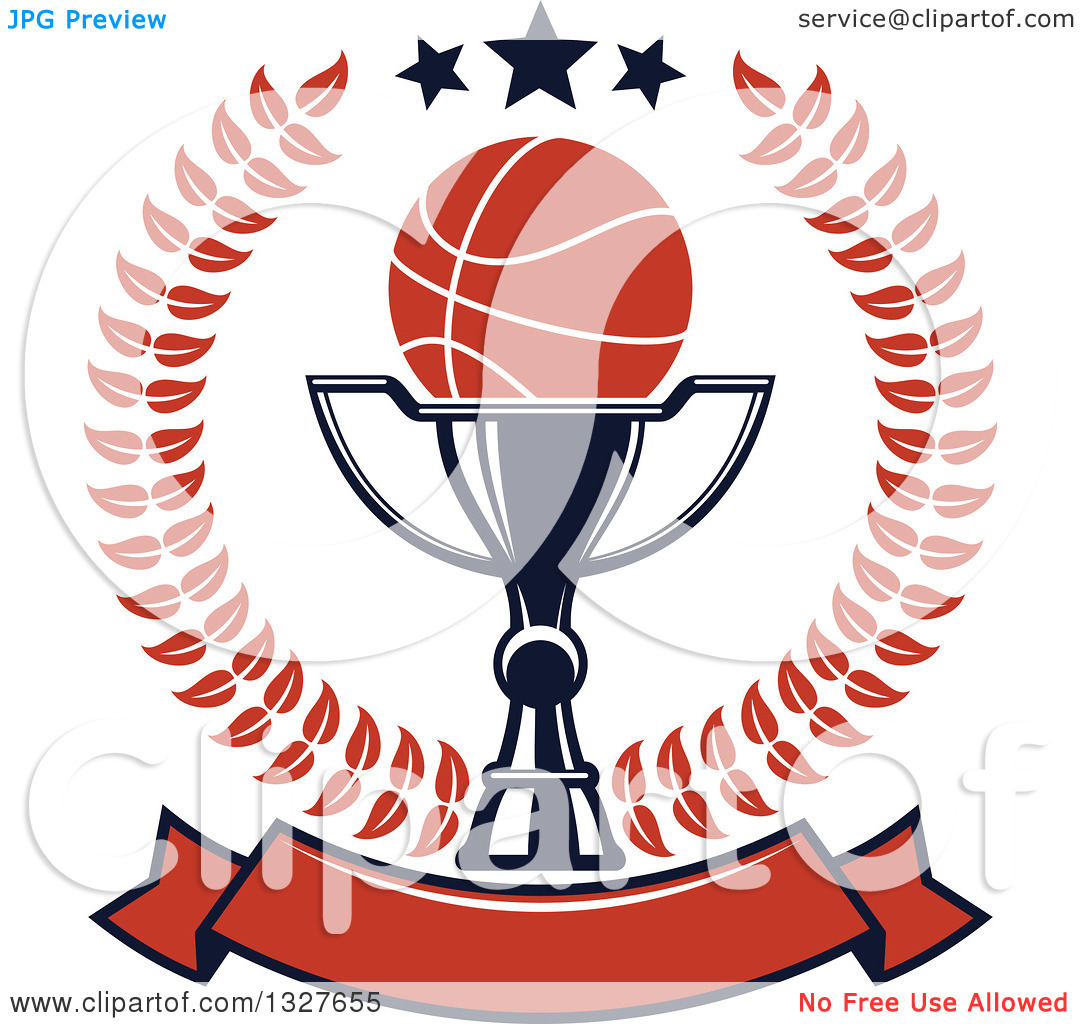 Clipart of a Basketball on a Trophy Cup Inside a Laurel and Star.