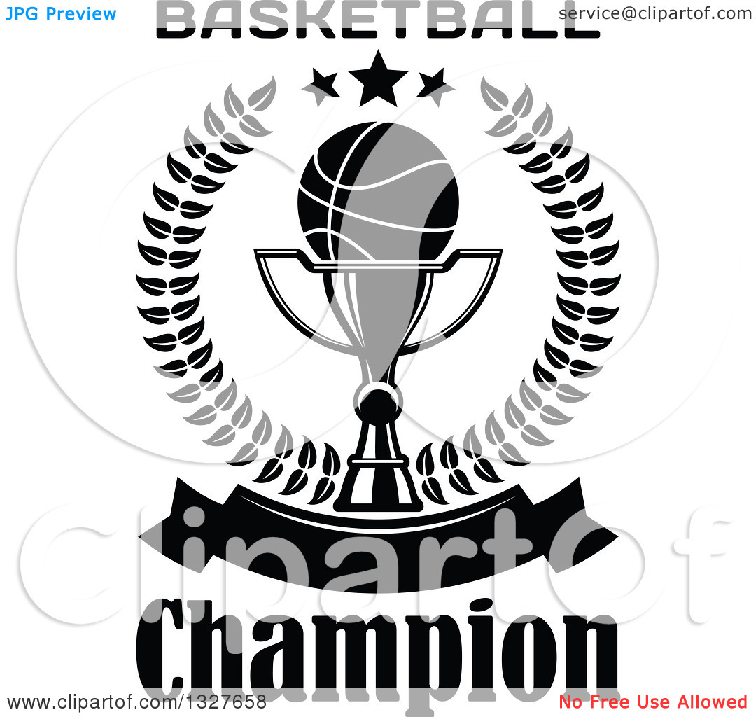 Clipart of a Black and White Basketball on a Trophy Cup Inside a.