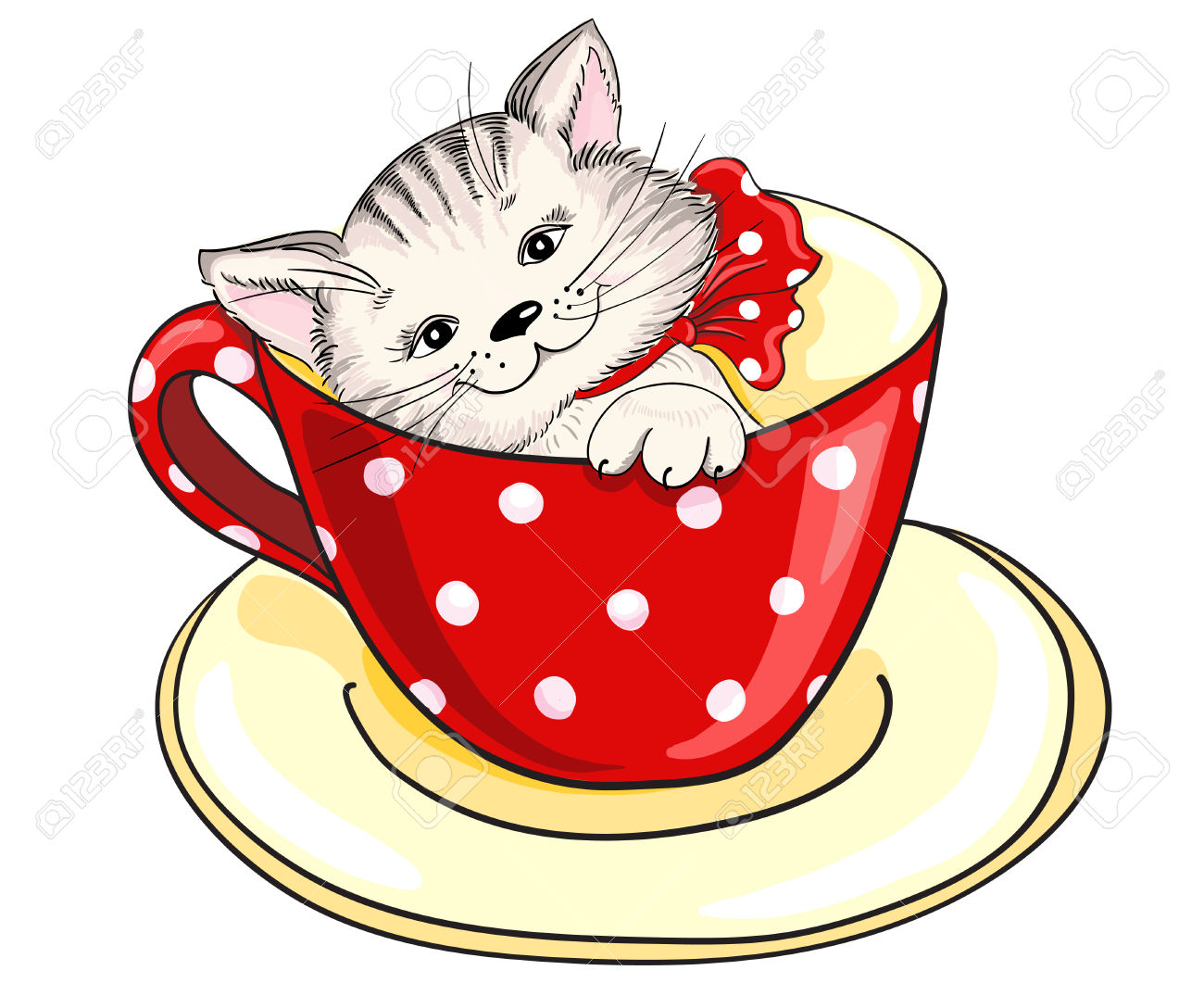 Cartoon Kitten Sitting Inside Large Cup Royalty Free Cliparts.