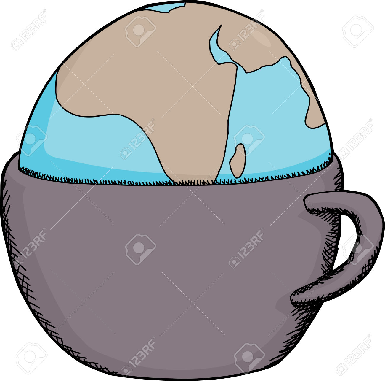 Hand Drawn Cartoon Of Globe Inside Drinking Cup Royalty Free.