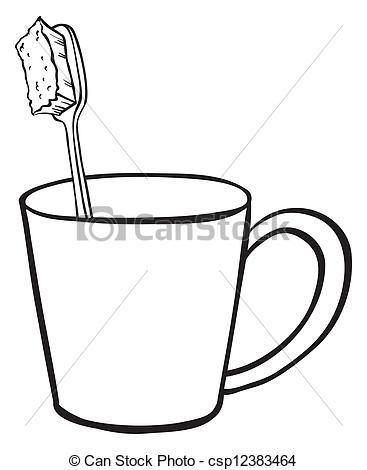 Clip Art Vector of A toothbrush inside a glass.