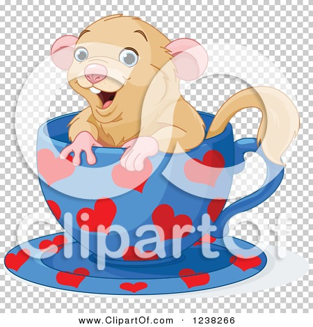 Clipart of a Cute Happy Dormouse Inside a Heart Patterned Tea Cup.