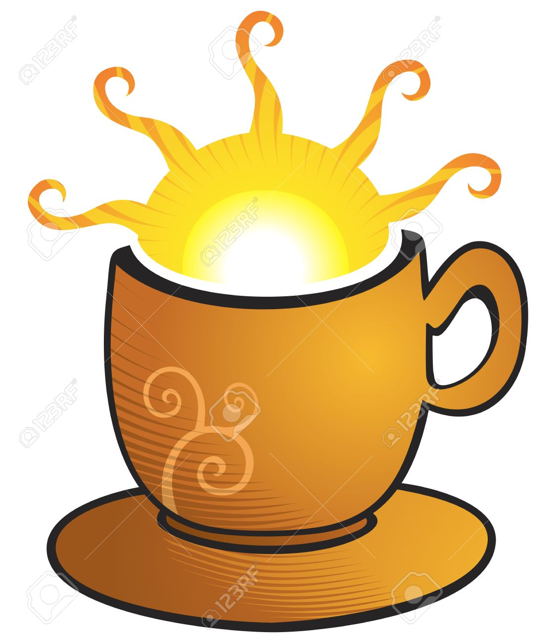 Illustration Of Bright Hot Sun Inside Cup Royalty Free Cliparts.