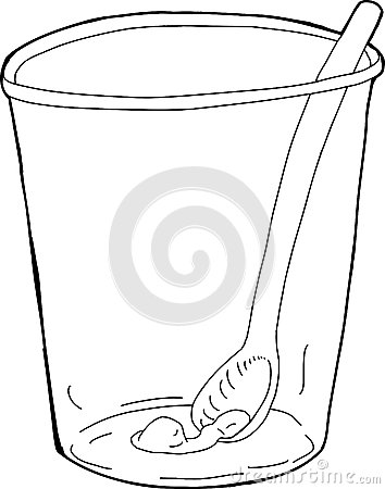 Cup With Spoon And Food Inside Stock Illustration.