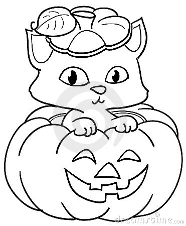 Pumpkin And Cute Cat Coloring Royalty Free Stock Photo.