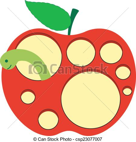 Vector Clipart of Worm Inside the Apple.