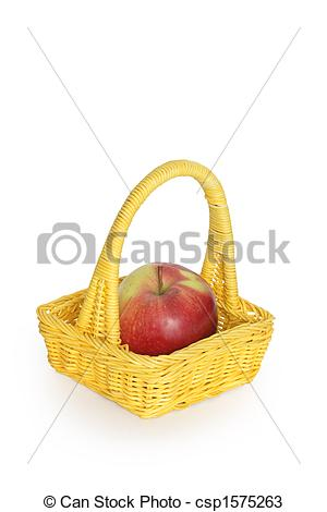 Stock Photos of Wicker basket with apple.