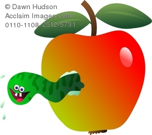 Clipart Image Of a Bad Apple With a Worm Inside.