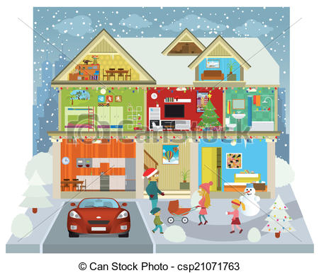 Clip Art Vector of Inside the house (Winter).