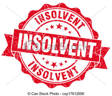 Stock Illustrations of Insolvent red grunge seal isolated on white.