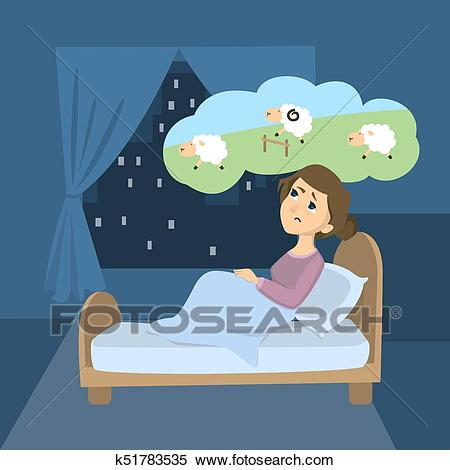 Woman with insomnia. Clipart.