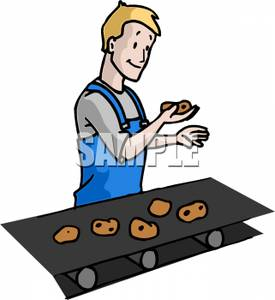 Free Clipart Image: A Man Inspecting Cookies on a Conveyor Belt.