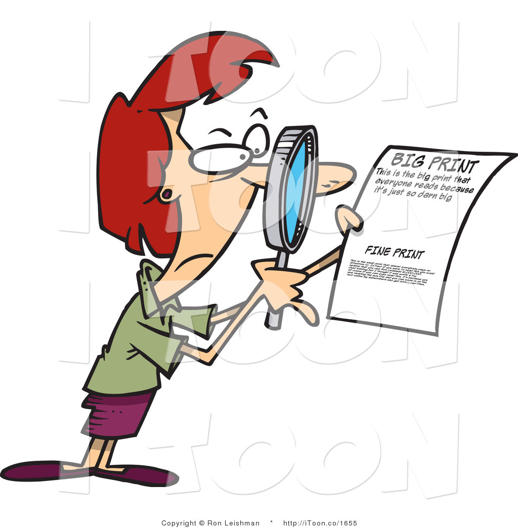 Cartoon Red Headed Woman Using a Magnifying Glass to Inspect the.