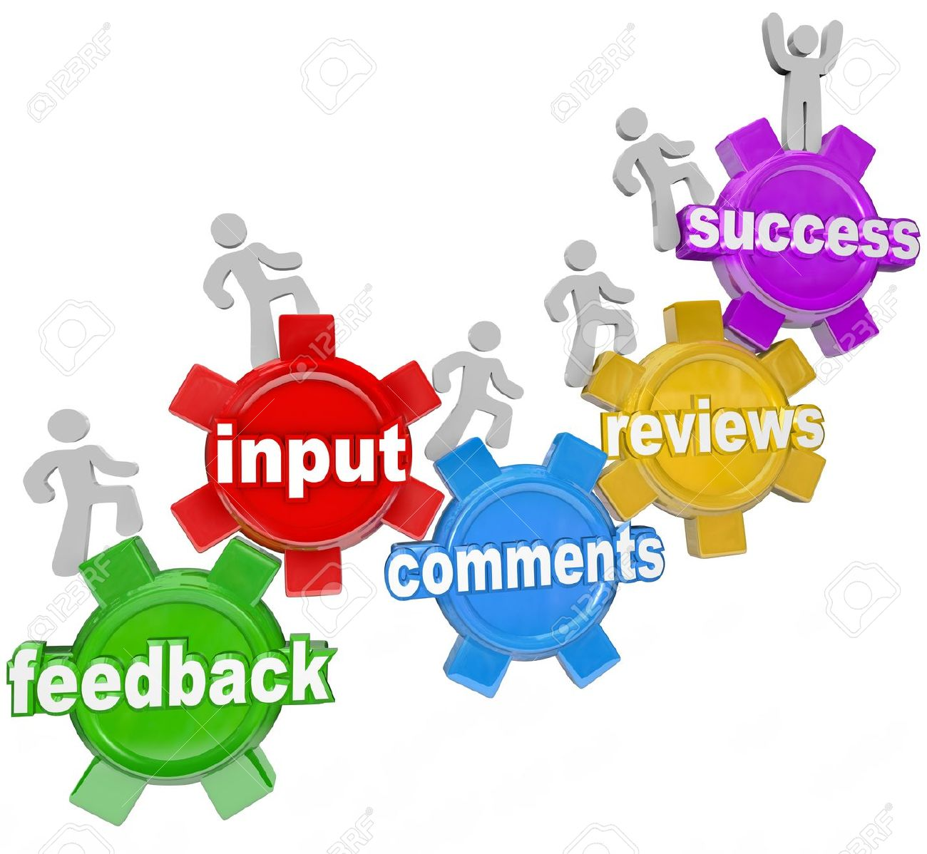 People Marching On Gears With The Words Feedback, Input, Comments.