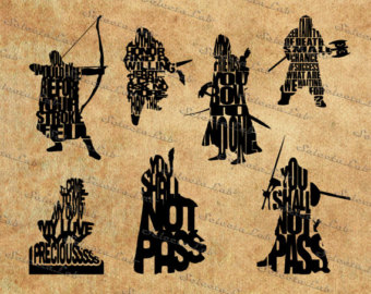 Lord of the rings tolkien calendar clipart.