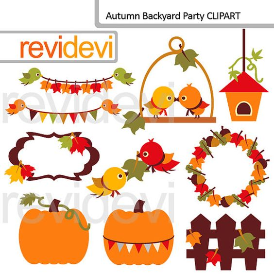 Fall clip art Autumn Backyard Party 07563 digital by revidevi.