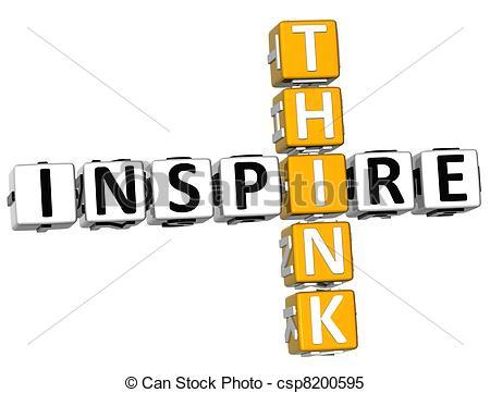Stock Illustrations of 3D Think Inspire Crossword over white.