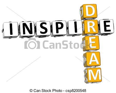 Stock Illustration of 3D Inspire Dream Crossword over white.