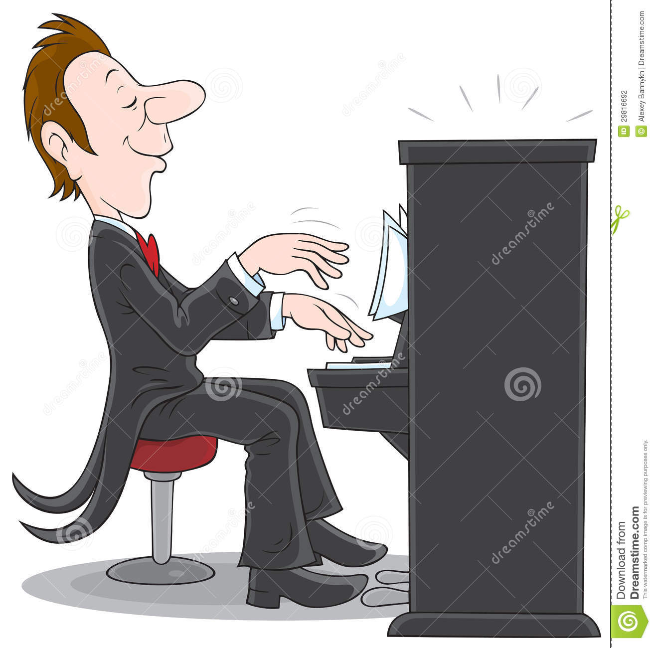 Inspired Musician Plays The Piano Vector Clip Art On A White.
