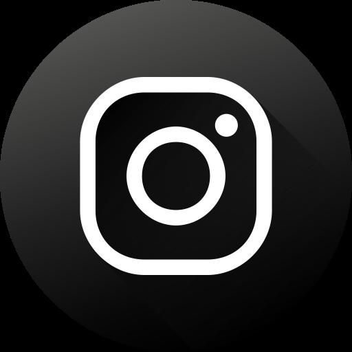 Black white, circle, high quality, instagram, long shadow, social.