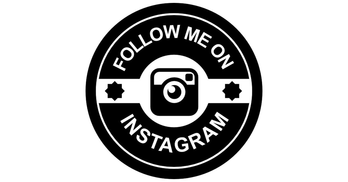 Follow me on instagram retro badge.