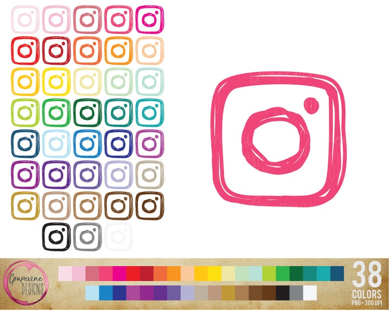 Instagram Icon Clipart, Planner Clipart, Instant Download, Personal Use,  Commercial Use Included, 38 Different Colors.