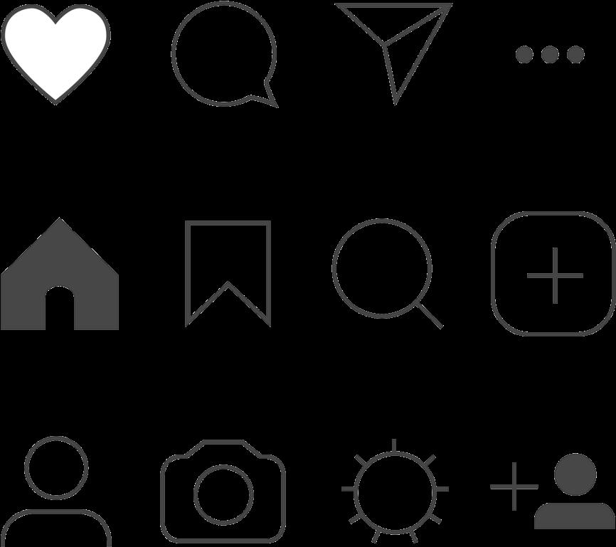 Instagram Icons Png Transparent Transparent Background.
