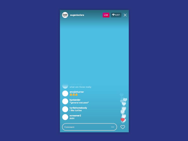Instagram Live UI Mockup 2019.