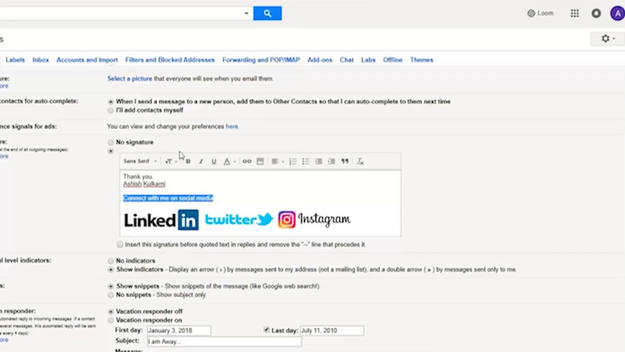 How to Add Social Media Icons to Email Signature in Gmail.