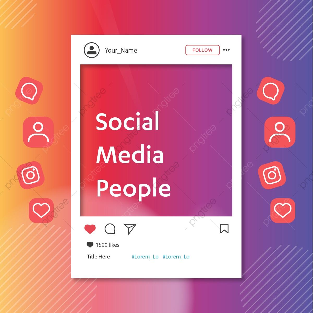 Social Media Background Icons Instagram Post Template, Instagram.
